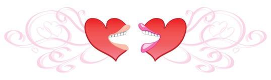 El hablar de los corazones de la tarjeta del día de San Valentín Fotos de archivo libres de regalías