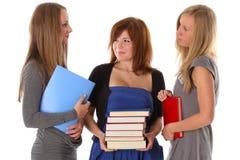 El hablar de los estudiantes de mujeres jovenes Foto de archivo