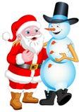 El hablar de Santa y del muñeco de nieve Imagen de archivo libre de regalías