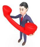 El hablar del carácter representa llamada de teléfono y llama la representación 3d Imagen de archivo libre de regalías