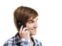 El hablar en el teléfono Foto de archivo libre de regalías