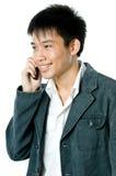 El hablar en el teléfono Imágenes de archivo libres de regalías