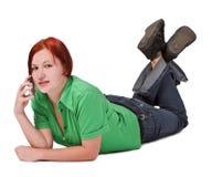 El hablar en el teléfono Foto de archivo