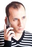 El hablar en el teléfono celular Fotografía de archivo libre de regalías