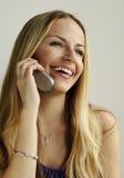 El hablar en el teléfono celular Imágenes de archivo libres de regalías