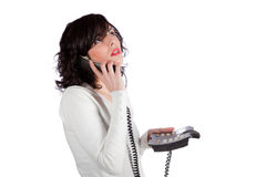 El hablar en el teléfono Imagenes de archivo