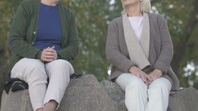 El hablar femenino de dos pensionistas, sentándose junto en piedra del río, amistad almacen de video
