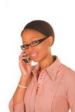 El hablar joven de la mujer de negocios Fotos de archivo