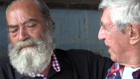 El hablar masculino mayor de los amigos almacen de metraje de vídeo