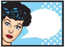 El hablar retro de la muchacha de Art Woman Advertisement Pop Art del clip del vintage Foto de archivo libre de regalías