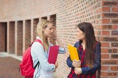 El hablar sonriente de los estudiantes al aire libre Fotografía de archivo