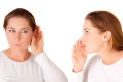 El hablar y el escuchar Imagen de archivo