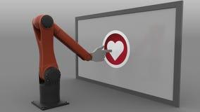 El hacer clic robótico del brazo en forma de corazón como el botón Medios concepto social automatizado de la promoción representa Fotografía de archivo libre de regalías