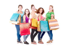 El hacer compras adolescente de los amigos Fotografía de archivo libre de regalías