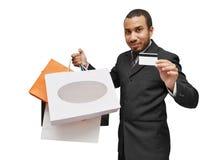 El hacer compras con de la tarjeta de crédito Imágenes de archivo libres de regalías