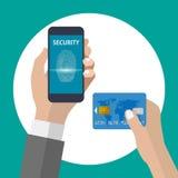 El hacer compras con la tarjeta del smartphone y de crédito usando la identificación de la huella dactilar stock de ilustración
