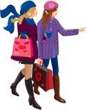 El hacer compras de dos muchachas stock de ilustración