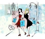 El hacer compras de las muchachas stock de ilustración