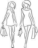El hacer compras de las novias ilustración del vector