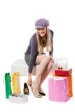 El hacer compras de los zapatos Imagenes de archivo