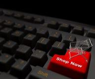 El hacer compras en el símbolo del icono del Internet Foto de archivo