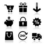 El hacer compras en iconos del negro del Internet fijó con la sombra Foto de archivo