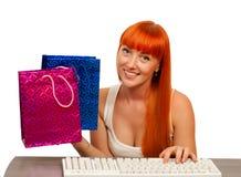 El hacer compras en Internet Imagen de archivo