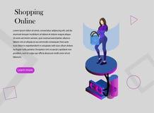 El hacer compras en línea stock de ilustración