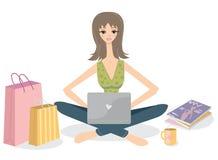El hacer compras en línea. stock de ilustración