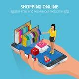 El hacer compras en línea Almacén móvil Ejemplo plano para los servicios del web y de teléfono móvil y los apps Vector plano 3d i Imagen de archivo libre de regalías