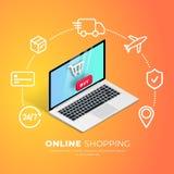 El hacer compras en línea con la línea iconos libre illustration