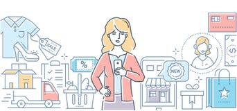 El hacer compras en línea - línea moderna ejemplo del vector del estilo del diseño libre illustration