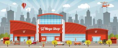 El hacer compras en la ciudad ilustración del vector
