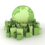 El hacer compras en pálido - verde ilustración del vector