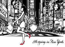 El hacer compras en Times Square - Nueva York Fotografía de archivo