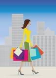 El hacer compras en verano ilustración del vector