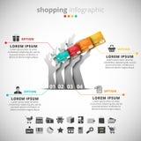 El hacer compras infographic Fotografía de archivo libre de regalías