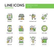 El hacer compras - línea iconos del diseño fijados