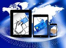 El hacer compras pagando entrega en línea ilustración del vector