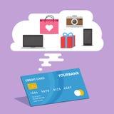 El hacer compras por concepto de la tarjeta de crédito Foto de archivo
