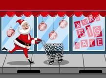 El hacer compras que va de Santa Claus empujando el carro vacío Imagen de archivo