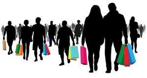 El hacer compras, tienda Muchos compradores La gente va con las mercancías y los paquetes libre illustration