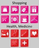 el hacer compras y medicina de los iconos Fotografía de archivo