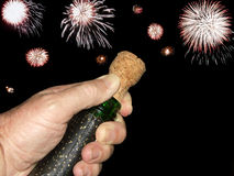 El hacer estallar del corcho de la celebración Imagen de archivo