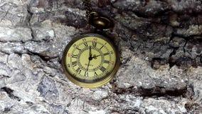 El hacer tictac de oro del reloj del bolsillo almacen de video