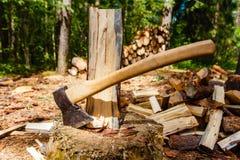 El hacha y tajado abre una sesión el bosque foto de archivo