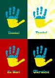El handprint del niño, pinta la bandera de Ucrania Fotos de archivo libres de regalías