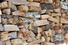 El ` HD de la leñera cortó la foto de madera de la acción de la pila Foto de archivo libre de regalías