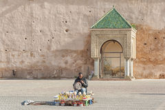 El Hedim Square, Meknes, Morocco. Morocco, Meknes, Historical kiosk or sentry post with Arabesque sculpted arches and typical green ceramic tiled roof on El Royalty Free Stock Photos