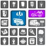 El helado ajustó iconos Fotos de archivo